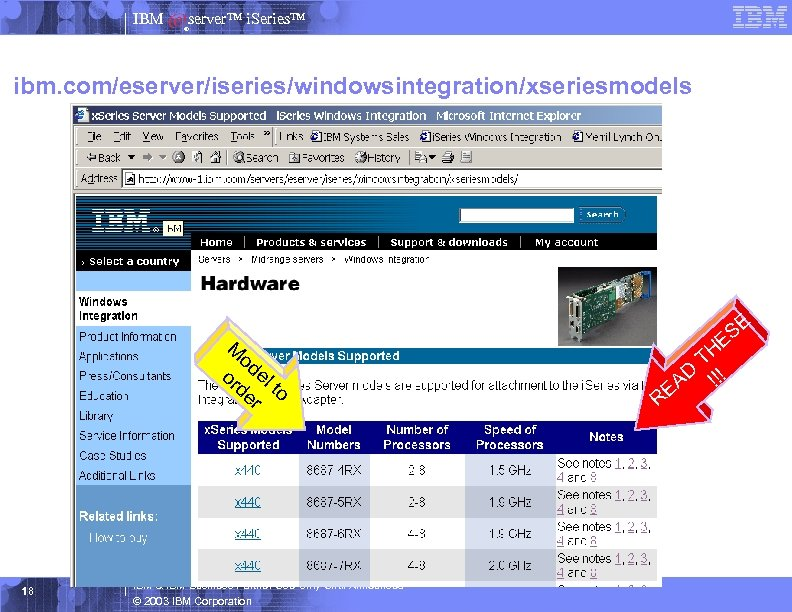 IBM server™ i. Series™ ® ibm. com/eserver/iseries/windowsintegration/xseriesmodels M od or el de to r