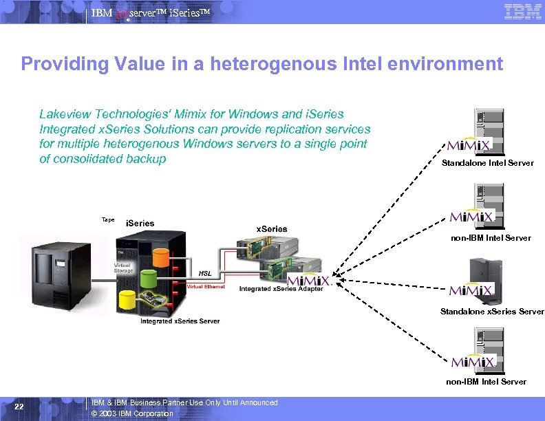 IBM server™ i. Series™ ® Providing Value in a heterogenous Intel environment Lakeview Technologies'