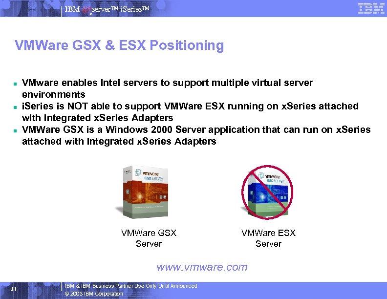 IBM server™ i. Series™ ® VMWare GSX & ESX Positioning n n n VMware