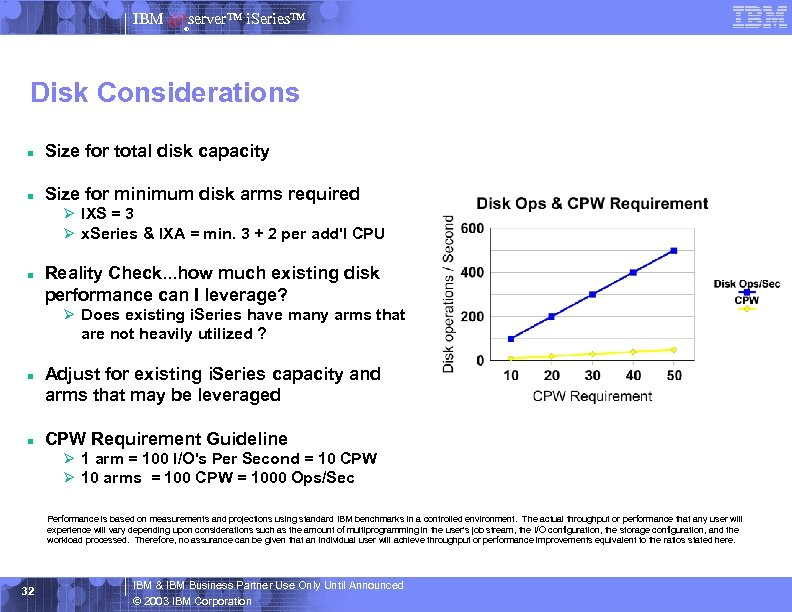 IBM server™ i. Series™ ® Disk Considerations n Size for total disk capacity n