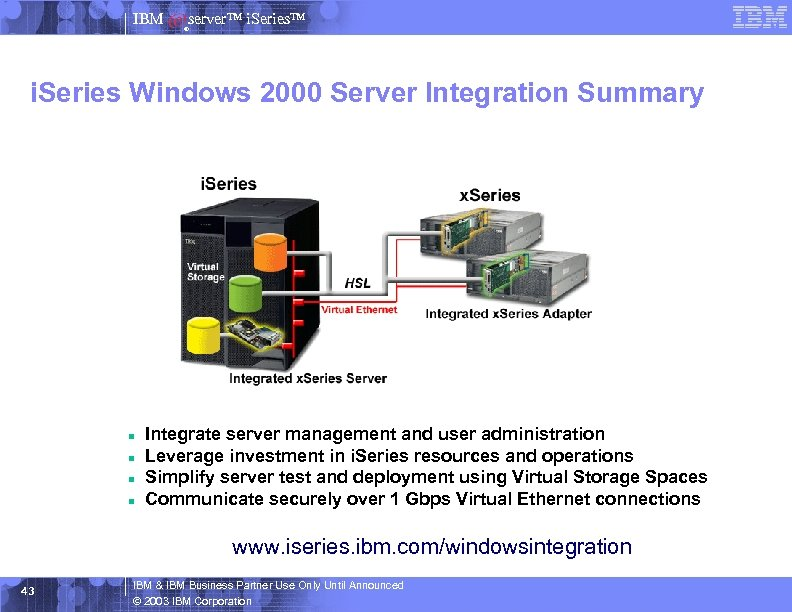 IBM server™ i. Series™ ® i. Series Windows 2000 Server Integration Summary n n