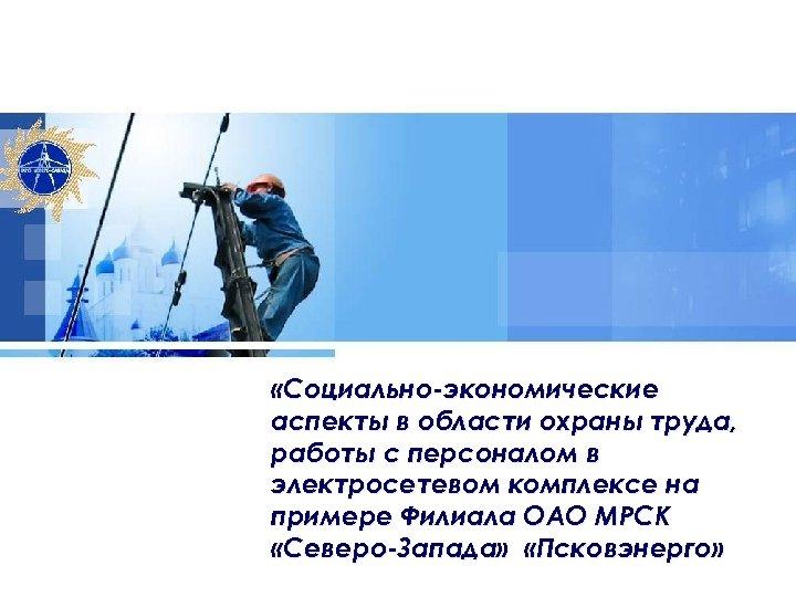 «Социально-экономические аспекты в области охраны труда, работы с персоналом в электросетевом комплексе на