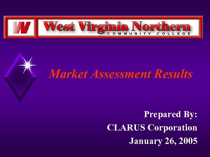 Market Assessment Results Prepared By: CLARUS Corporation January 26, 2005