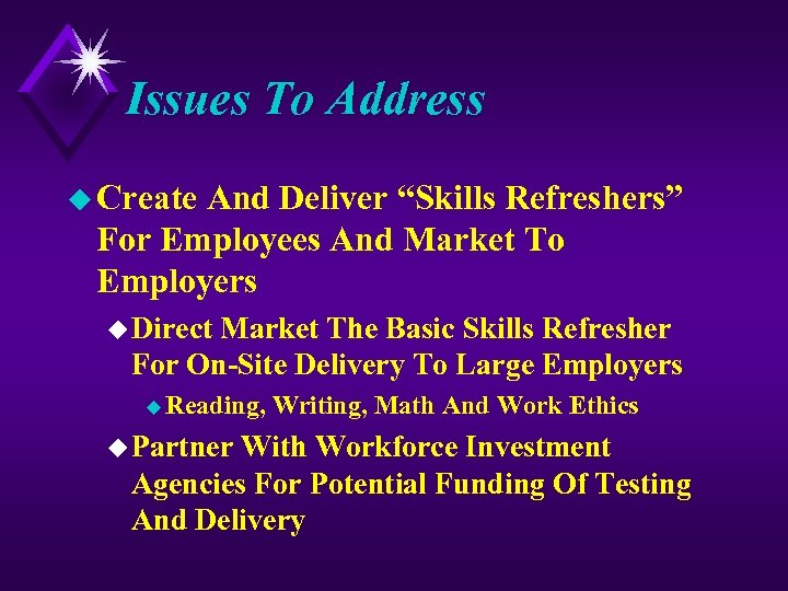 "Issues To Address u Create And Deliver ""Skills Refreshers"" For Employees And Market To"