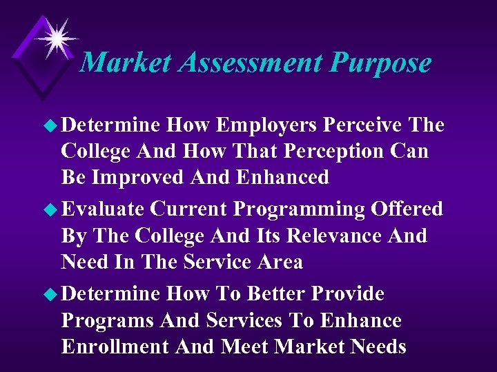 Market Assessment Purpose u Determine How Employers Perceive The College And How That Perception