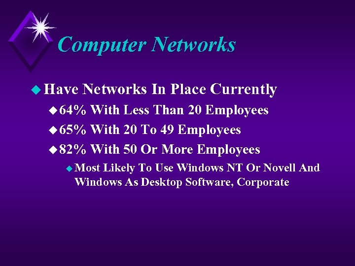 Computer Networks u Have Networks In Place Currently u 64% With Less Than 20