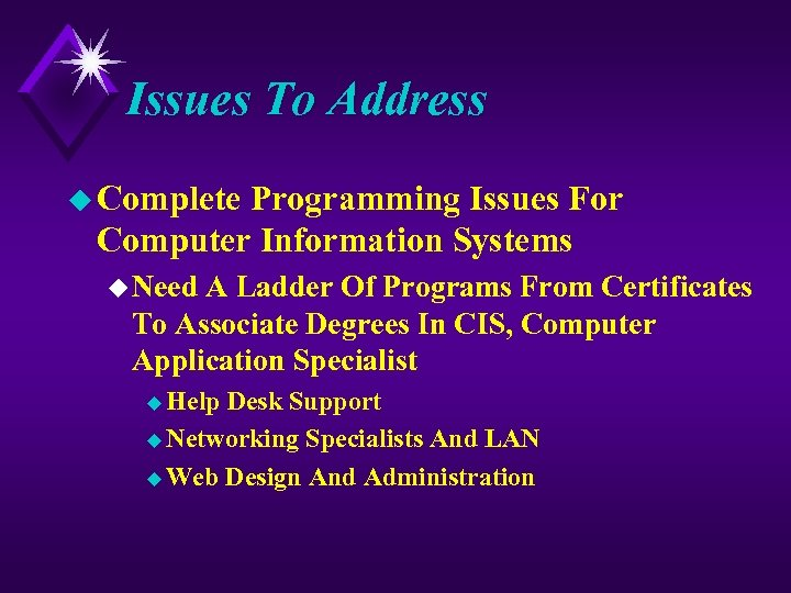 Issues To Address u Complete Programming Issues For Computer Information Systems u Need A
