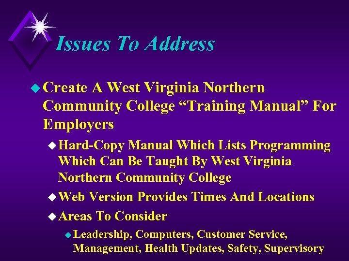 "Issues To Address u Create A West Virginia Northern Community College ""Training Manual"" For"