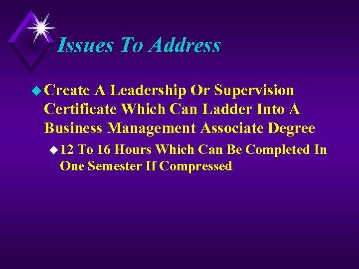 Issues To Address u Create A Leadership Or Supervision Certificate Which Can Ladder Into