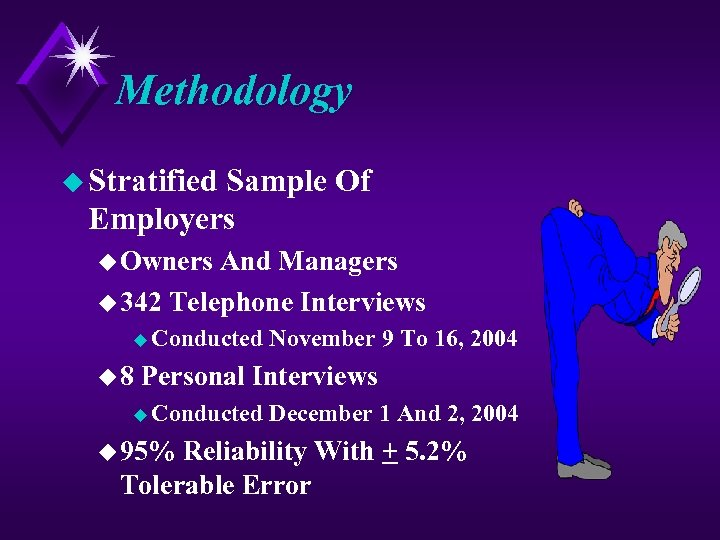 Methodology u Stratified Sample Of Employers u Owners And Managers u 342 Telephone Interviews