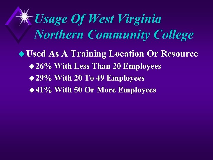 Usage Of West Virginia Northern Community College u Used As A Training Location Or