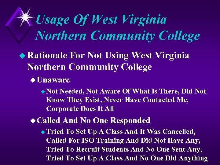 Usage Of West Virginia Northern Community College u Rationale For Not Using West Virginia