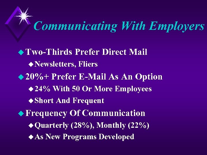 Communicating With Employers u Two-Thirds Prefer Direct Mail u Newsletters, u 20%+ Fliers Prefer