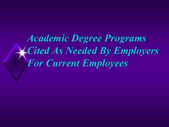 Academic Degree Programs Cited As Needed By Employers For Current Employees