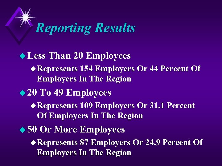 Reporting Results u Less Than 20 Employees u Represents 154 Employers Or 44 Percent