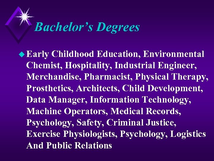 Bachelor's Degrees u Early Childhood Education, Environmental Chemist, Hospitality, Industrial Engineer, Merchandise, Pharmacist, Physical
