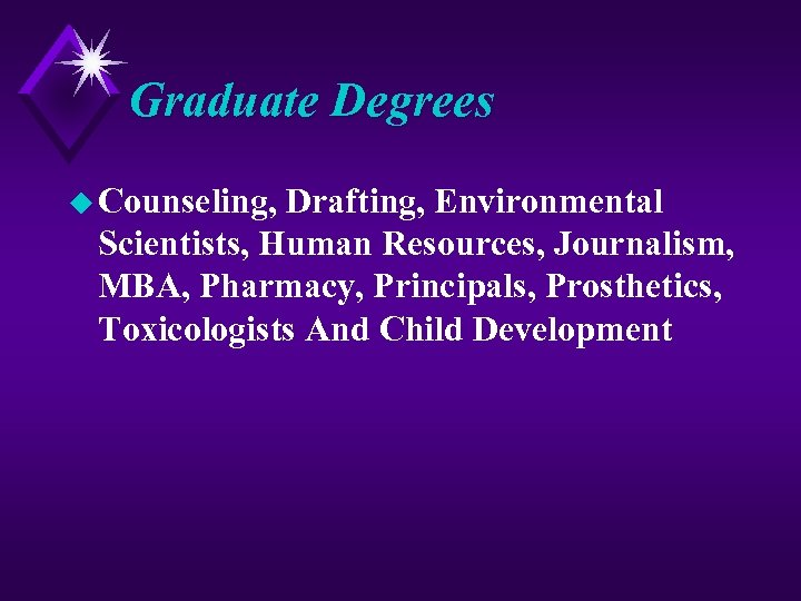 Graduate Degrees u Counseling, Drafting, Environmental Scientists, Human Resources, Journalism, MBA, Pharmacy, Principals, Prosthetics,