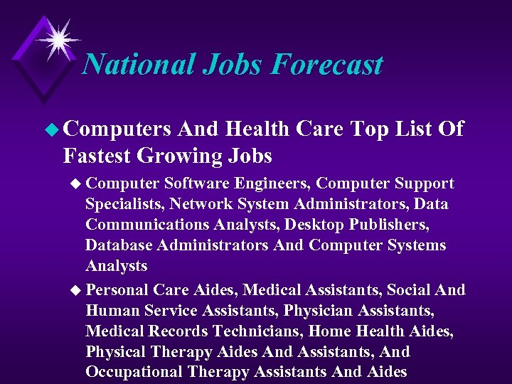 National Jobs Forecast u Computers And Health Care Top List Of Fastest Growing Jobs