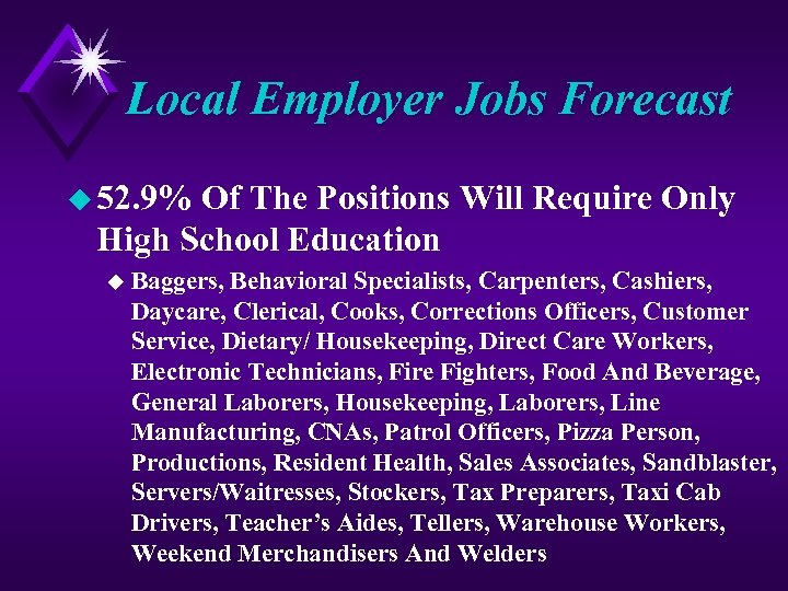Local Employer Jobs Forecast u 52. 9% Of The Positions Will Require Only High
