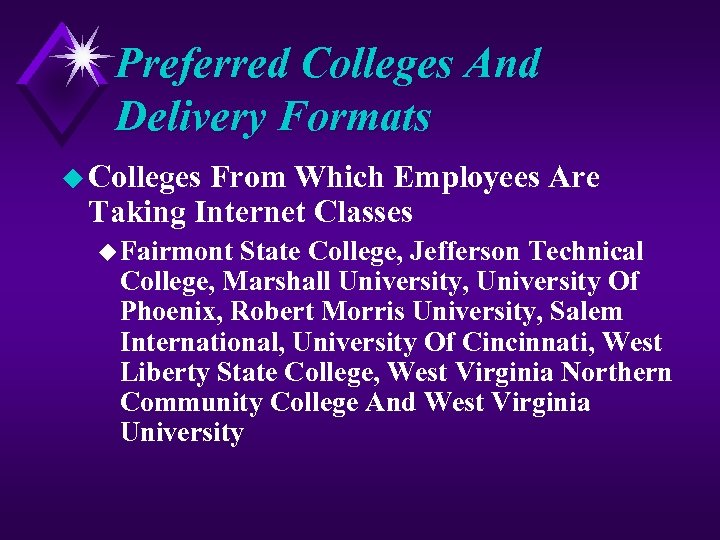 Preferred Colleges And Delivery Formats u Colleges From Which Employees Are Taking Internet Classes