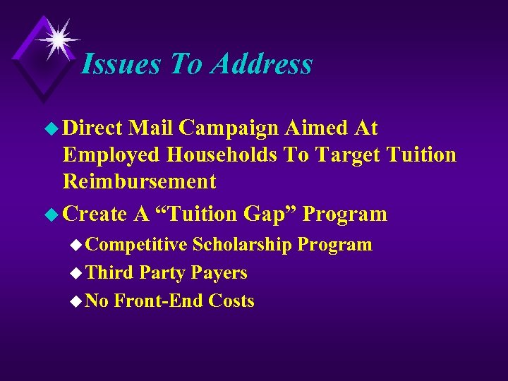 Issues To Address u Direct Mail Campaign Aimed At Employed Households To Target Tuition