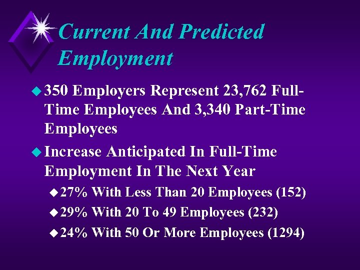 Current And Predicted Employment u 350 Employers Represent 23, 762 Full. Time Employees And