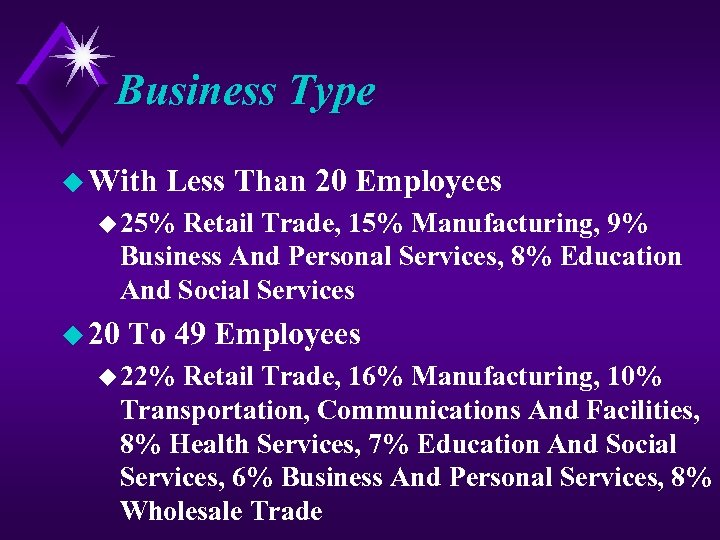 Business Type u With Less Than 20 Employees u 25% Retail Trade, 15% Manufacturing,