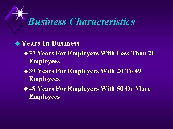 Business Characteristics u Years u 37 In Business Years For Employers With Less Than
