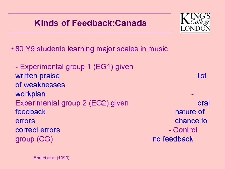 Kinds of Feedback: Canada • 80 Y 9 students learning major scales in music