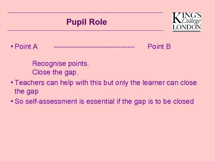 Pupil Role • Point A ----------------- Point B Recognise points. Close the gap. •