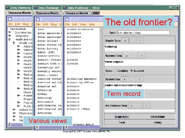 The old frontier? Term record Various views Copyright 2007 Access Innovations, Inc.