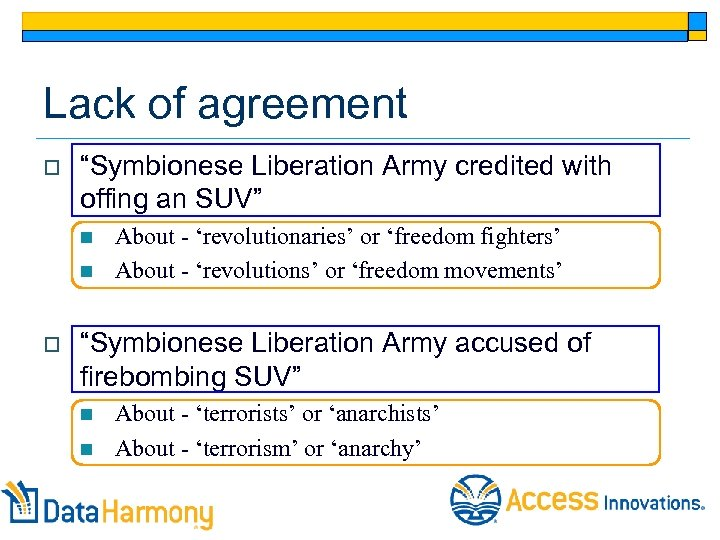 """Lack of agreement o """"Symbionese Liberation Army credited with offing an SUV"""" n n"""