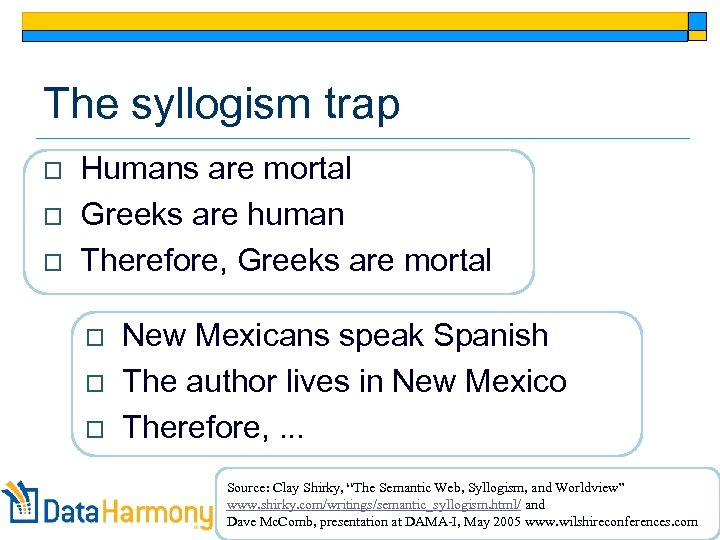The syllogism trap o o o Humans are mortal Greeks are human Therefore, Greeks