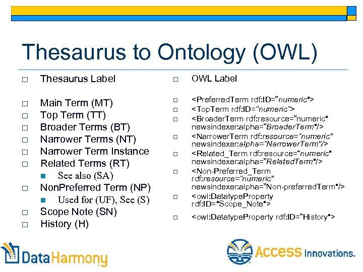 Thesaurus to Ontology (OWL) o Thesaurus Label o OWL Label o Main Term (MT)