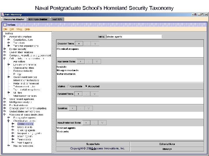 Naval Postgraduate School's Homeland Security Taxonomy Copyright 2007 Access Innovations, Inc.