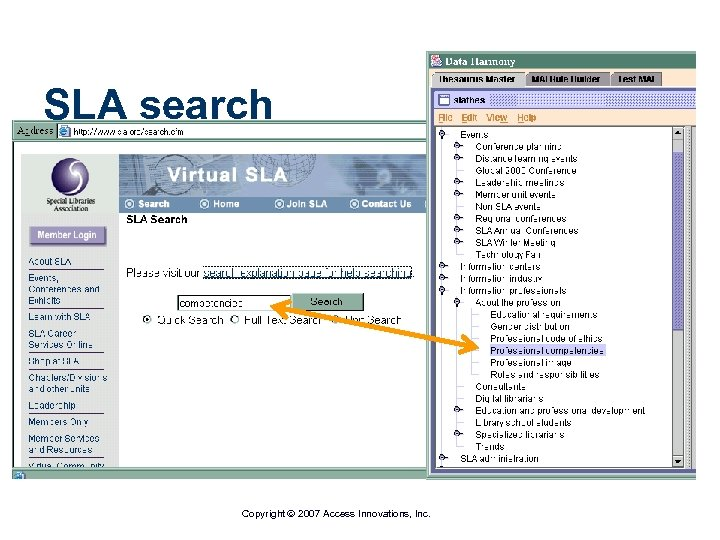 SLA search Copyright 2007 Access Innovations, Inc.
