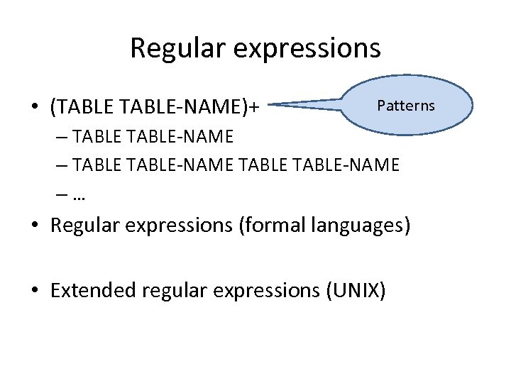 Regular expressions • (TABLE-NAME)+ Patterns – TABLE-NAME TABLE-NAME –… • Regular expressions (formal languages)