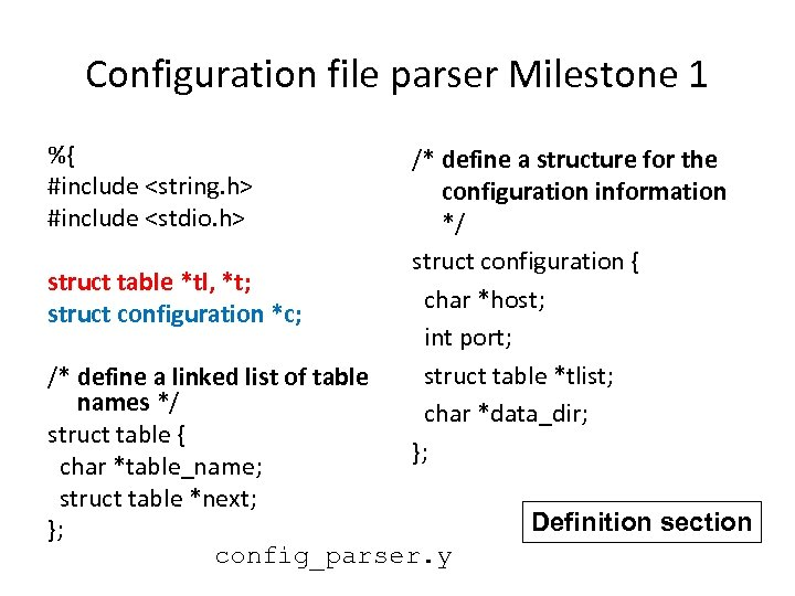 Configuration file parser Milestone 1 %{ #include <string. h> #include <stdio. h> struct table