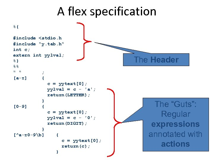 A flex specification %{ #include <stdio. h #include