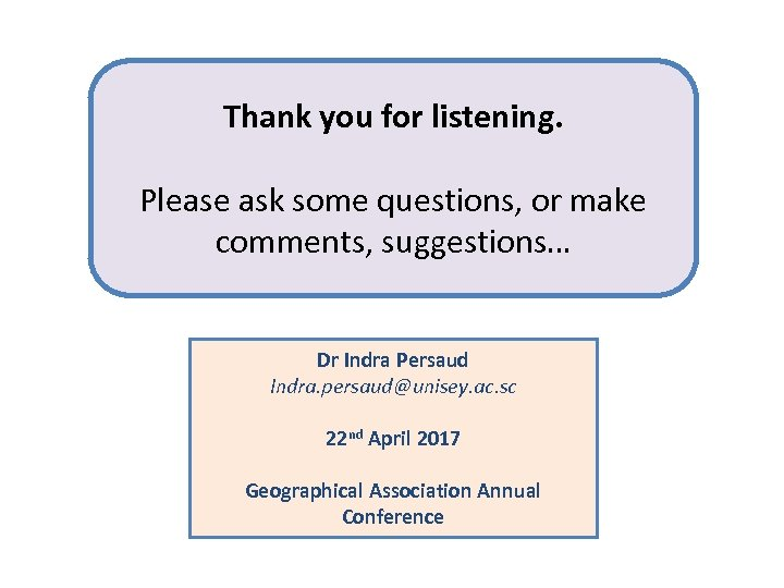 Thank you for listening. Please ask some questions, or make comments, suggestions… Dr Indra