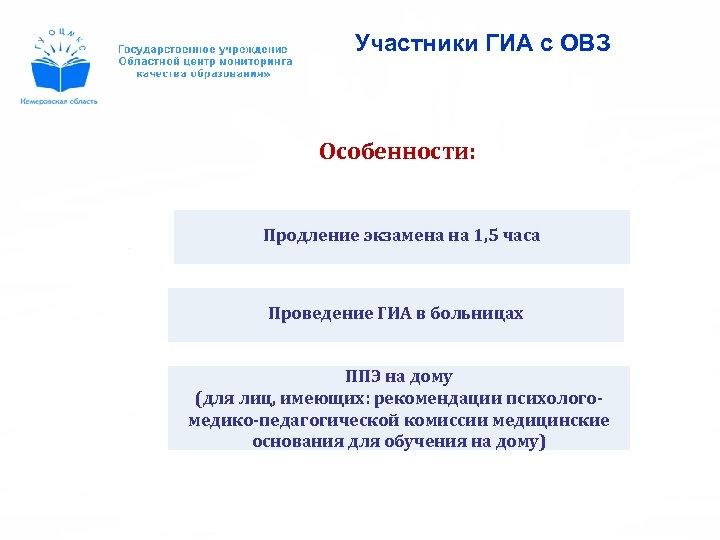 Участники ГИА с ОВЗ Особенности: Продление экзамена на 1, 5 часа Проведение ГИА в