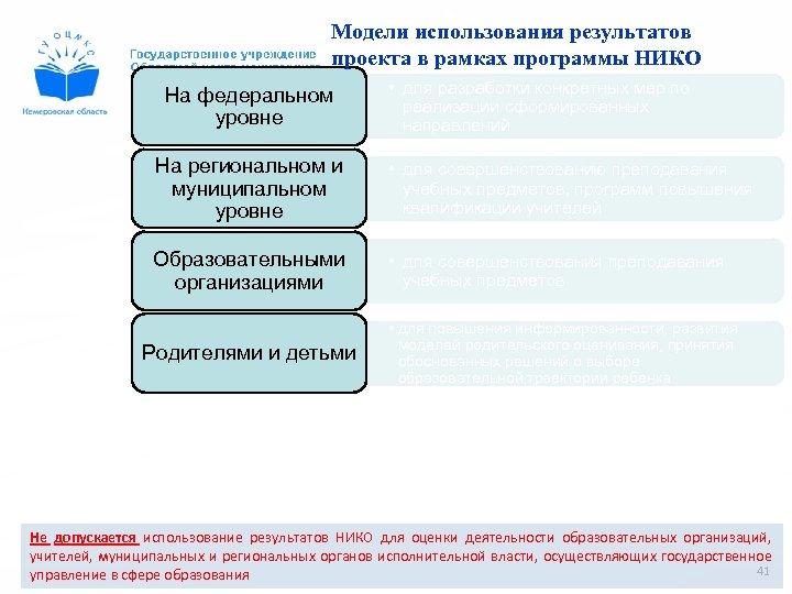 Модели использования результатов проекта в рамках программы НИКО На федеральном уровне • для разработки