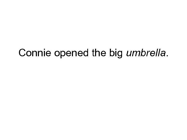 Connie opened the big umbrella.