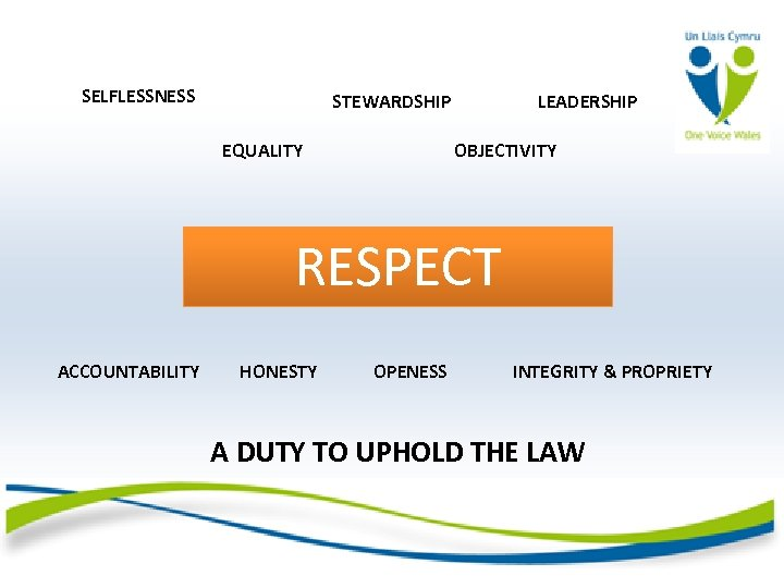 SELFLESSNESS STEWARDSHIP EQUALITY LEADERSHIP OBJECTIVITY RESPECT ACCOUNTABILITY HONESTY OPENESS INTEGRITY & PROPRIETY A DUTY