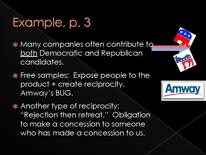 Example, p. 3 Many companies often contribute to both Democratic and Republican candidates. Free