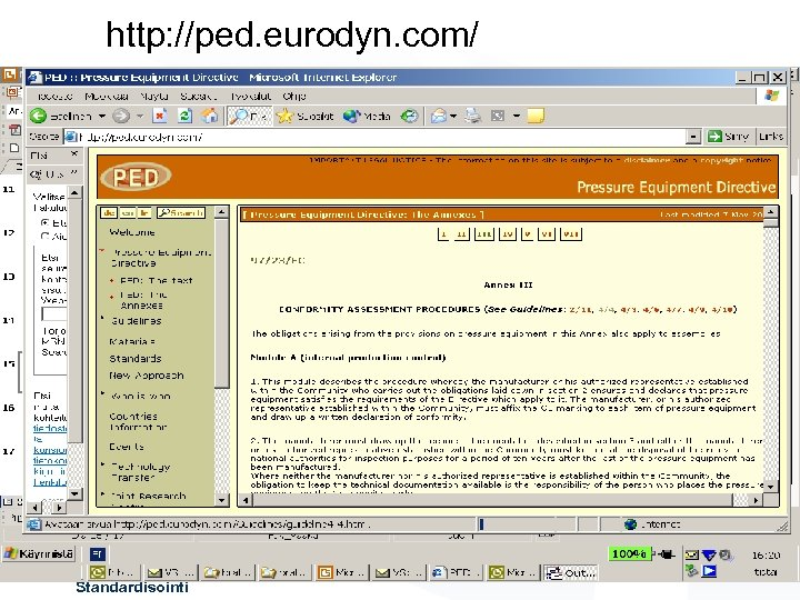 http: //ped. eurodyn. com/ A-L Tyry Standardisointi