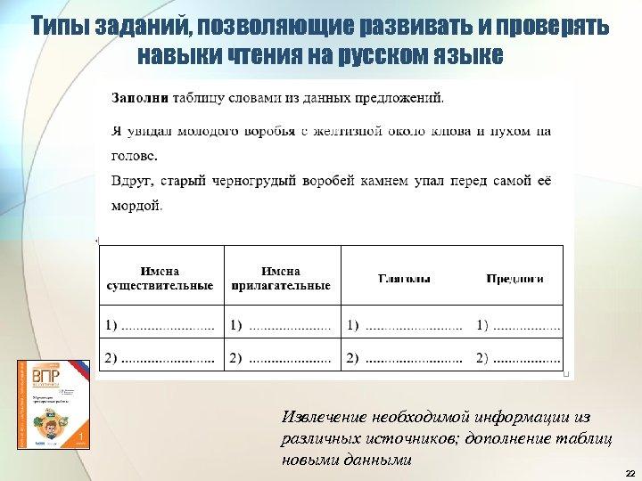 Типы заданий, позволяющие развивать и проверять навыки чтения на русском языке Извлечение необходимой информации