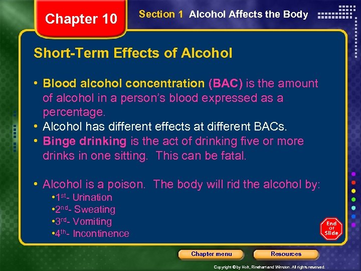 Chapter 10 Section 1 Alcohol Affects the Body Short-Term Effects of Alcohol • Blood