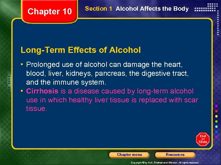 Chapter 10 Section 1 Alcohol Affects the Body Long-Term Effects of Alcohol • Prolonged