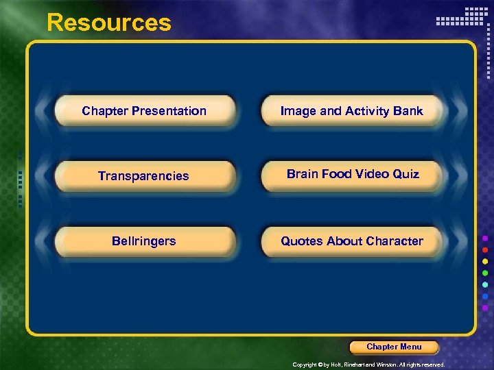 Resources Chapter Presentation Image and Activity Bank Transparencies Brain Food Video Quiz Bellringers Quotes